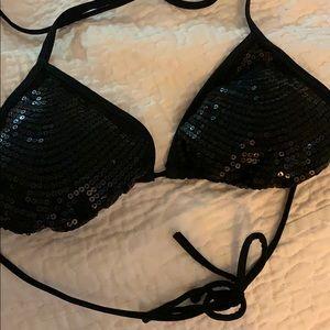 Glittering black sequin bikini top